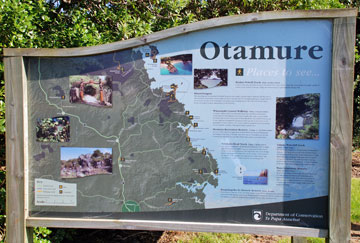 Sign at the entrance to the Otamure Bay campsite