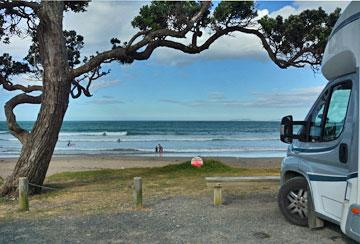 Beachfront parking on the sealed carpark