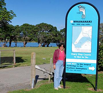 Whananaki North school sign for the longest bridge in the southern hemisphere