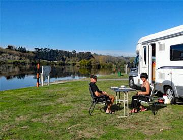 Freedom camp by the powerstation lakes along the Waikato river