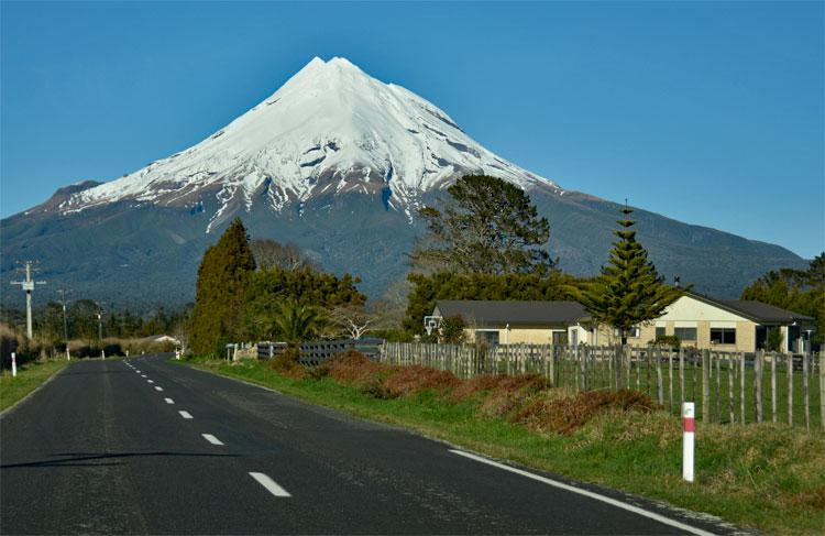 Mt Taranaki as seen at the end of winter along the Egmont Road
