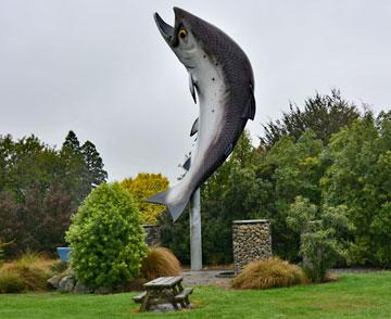 Salmon sculpture at the northern entrance to Rakaia