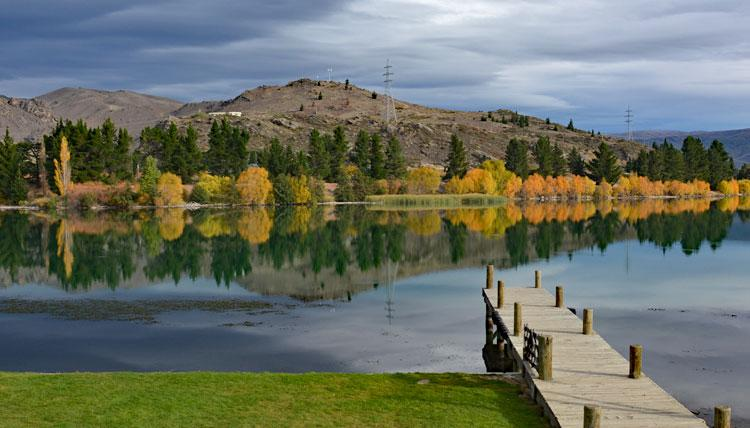 Lake Dunstan in Autumn as seen from Cromwell Old Town