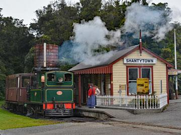 Steam train at Shanty Town near Greymouth