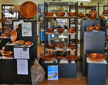 Display of swamp kauri bowls