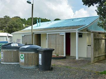 Campsite facilities and rubbish bins