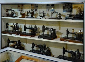 Collection of early sewing machines