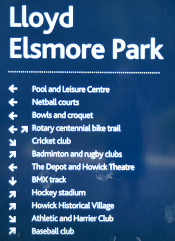 Council sign at the entrance to Lloyd Elsmore Park
