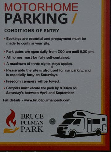 Motorhome Parking sign