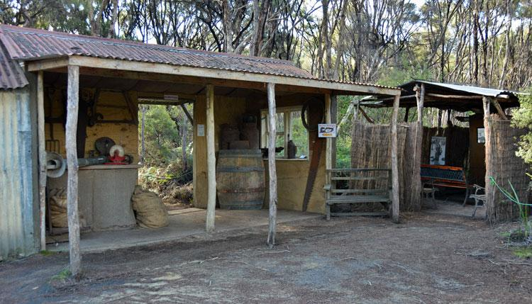 Huts where you can play the audio-visual on the history of the kauri gum industry