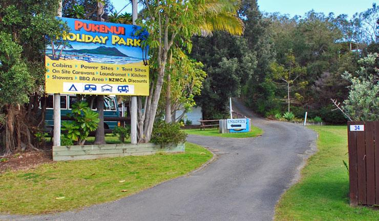 Entrance to the Pukenui Holiday Park
