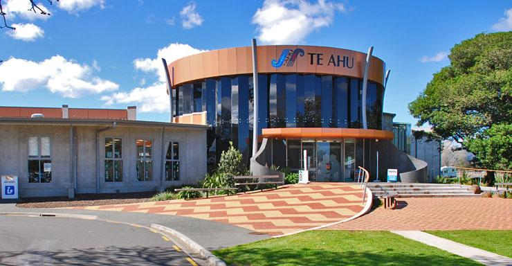 The main entrance to the Te Ahu Community Centre