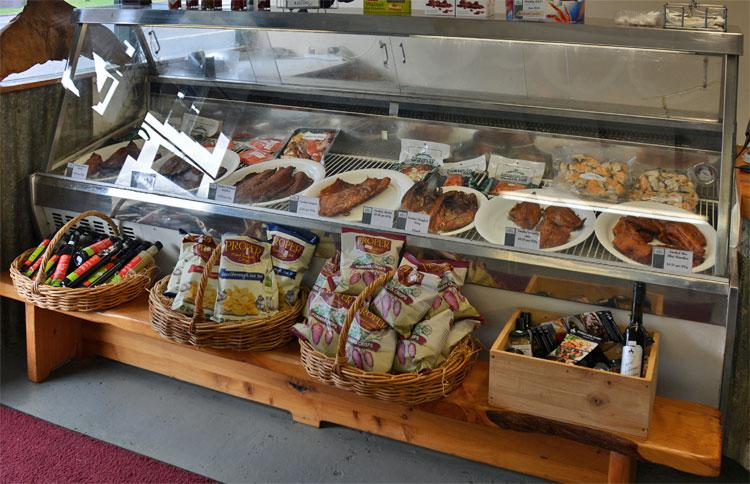 Display of smoked fish