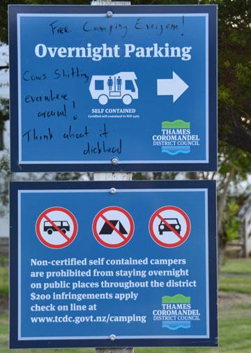 Overnight Parking sign