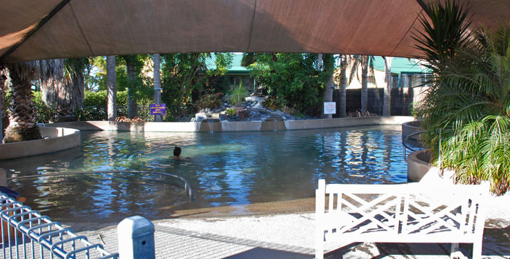 Geothermal hot mineral pool at Miranda Holiday Park