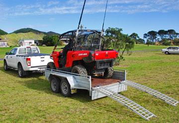 Dune buggy loaded up on its trailer after an afternoon's fishing