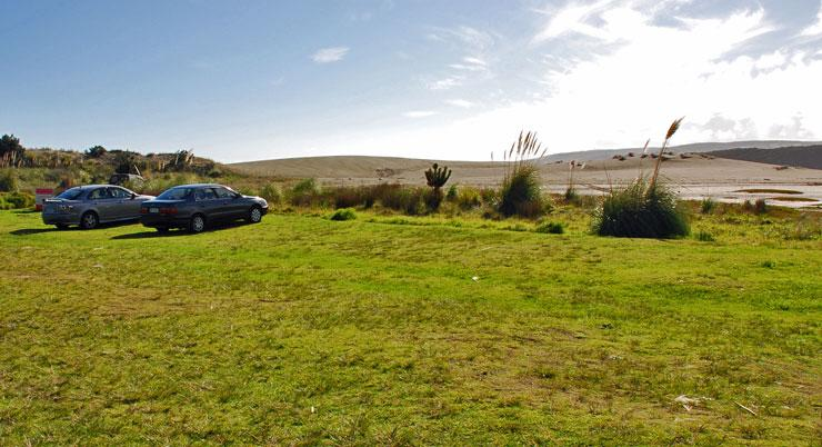 Grassed parking area at Port Waikato Reserve