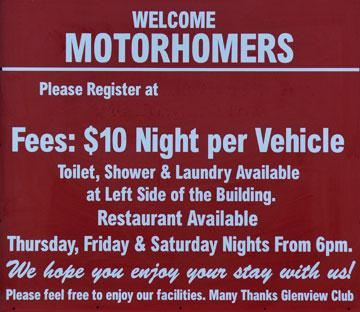 Welcome Motorhomers sign