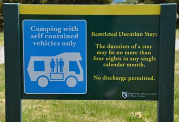 DOC Freedom Camping sign