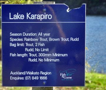 Lake Karapiro fishing limits