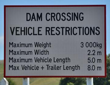 Karapiro Dam Crossing sign