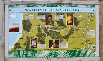 Locations along the road from Waitomo to Marokopa