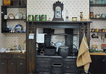 Cast iron stove in a reconstructed kitchen