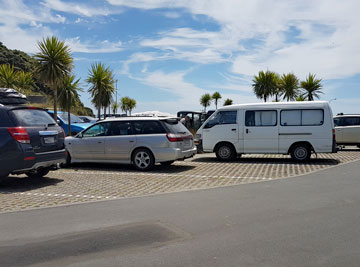 Marked parking area long enough for a motorhome