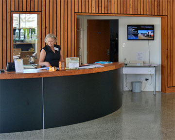 Reception desk inside the museum
