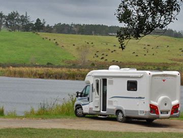 Parked overlooking Lake Tomarata