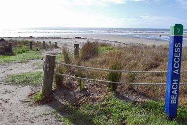 Access to the surf beach from the campsite