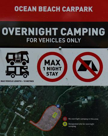 Overnight Camping sign