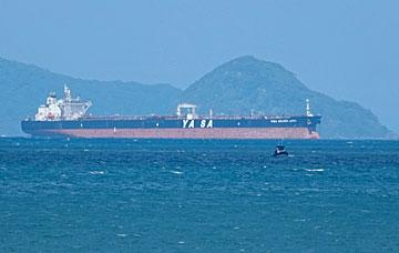 Tanker sailing out from Whangarei Harbour