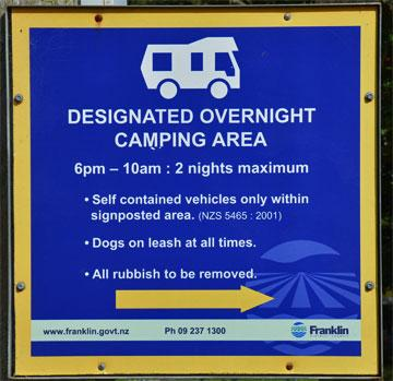 Designated Overnight Camping sign