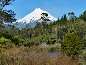 Mount Taranaki viewed over the lake