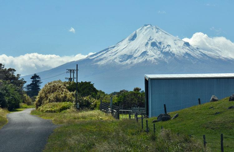 View of Mount Taranaki when driving back down Cape Rd