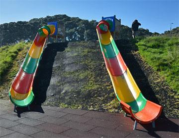 Slides down to the Coastal Walkway