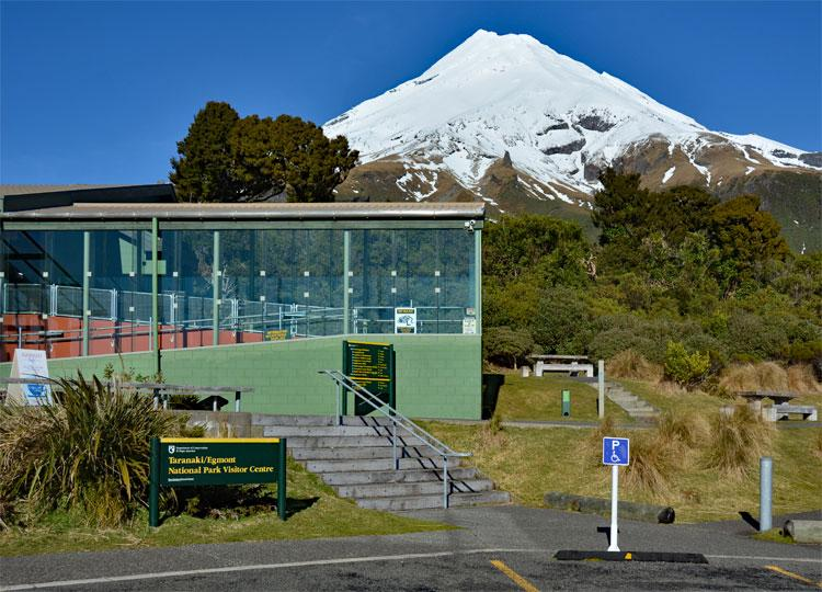 The Visitor Centre with Mt Taranaki in the background