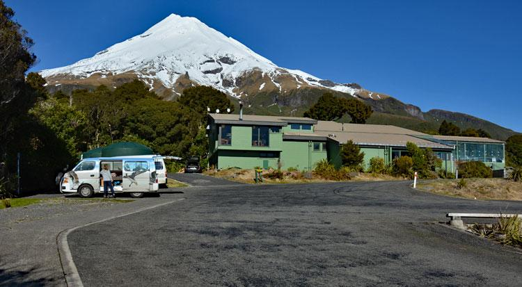 Freedom Camping area with Visitor Centre and Mt Taranaki