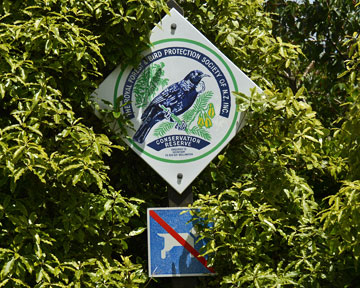 Native bird conservation sign