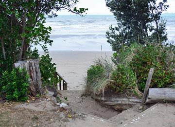 Entrance to the beach from the campsite