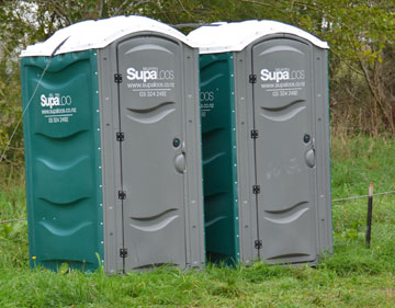 Temporary toilets until the new ones are completed