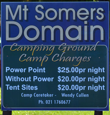 Mt Somers Domain Camping Ground sign
