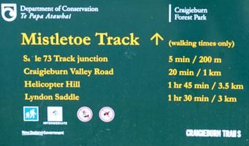 Walking track sign