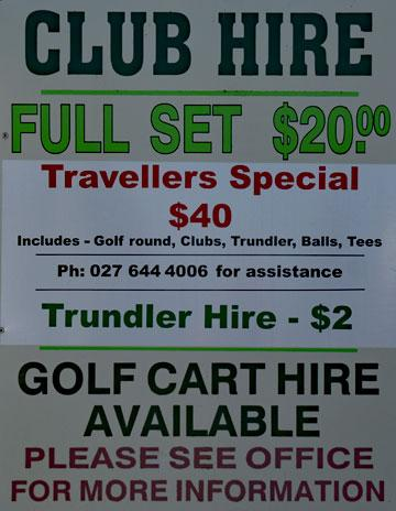 Club hire sign