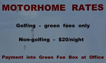 Motorhome rates sign