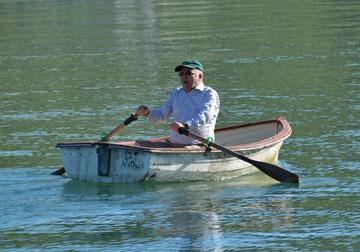 Rowing a boat on the harbour