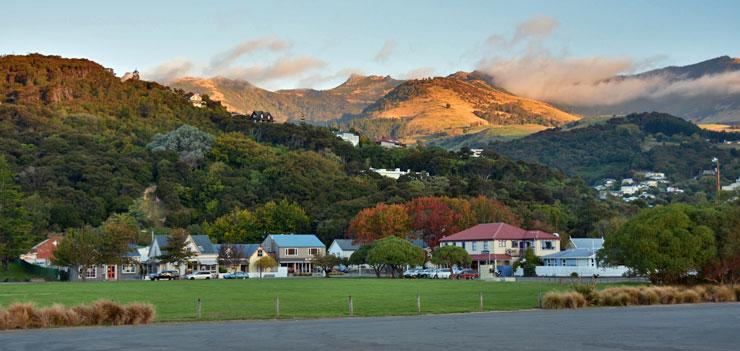 Sunset over Akaroa town