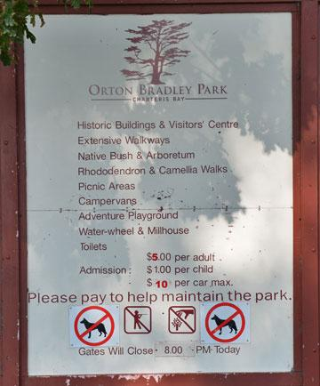 Sign describing what Orton Bradley Park offers