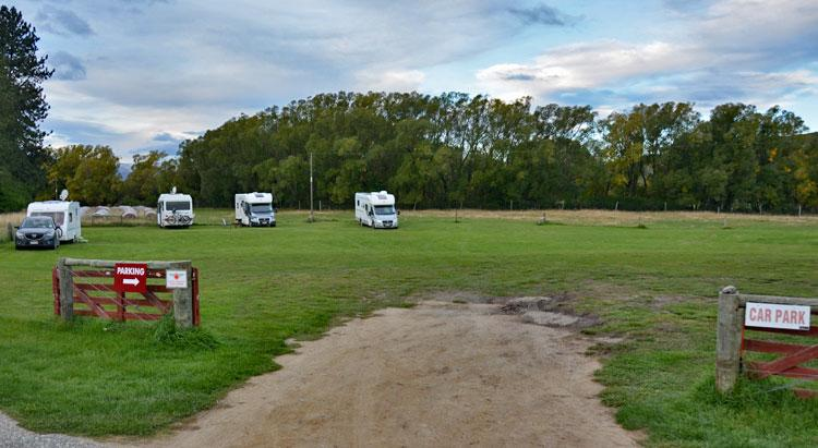 Entrance to the motorhome parking area